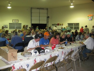 Saturday evening banquet at the Wilson's hangar