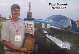 Paul Barnett and Swift NC80567 winner of the AirVenture 2014 Reserve Grand Champion and Silver Lindy.
