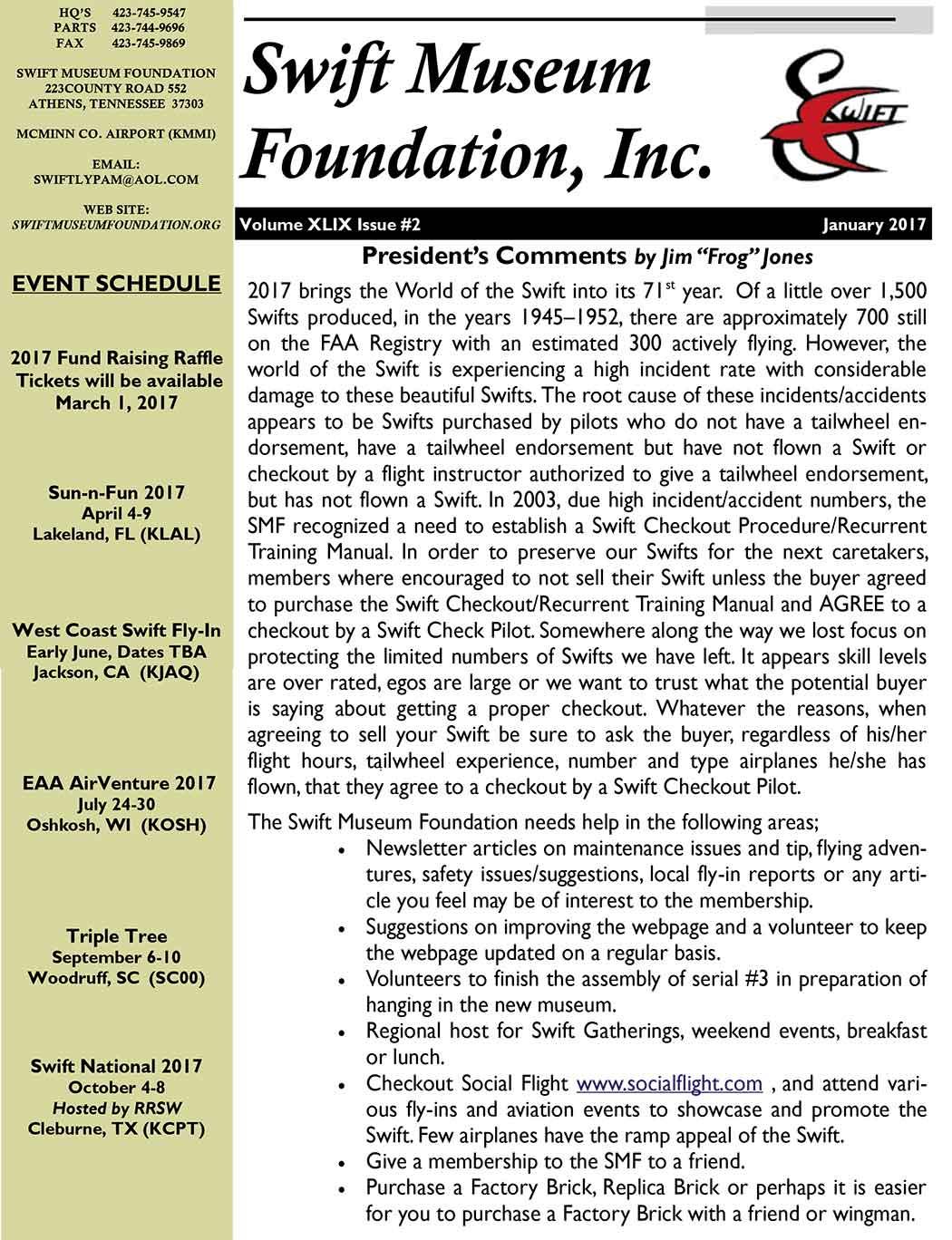 January 2017 Newsletter - Swift Museum Foundation, Inc