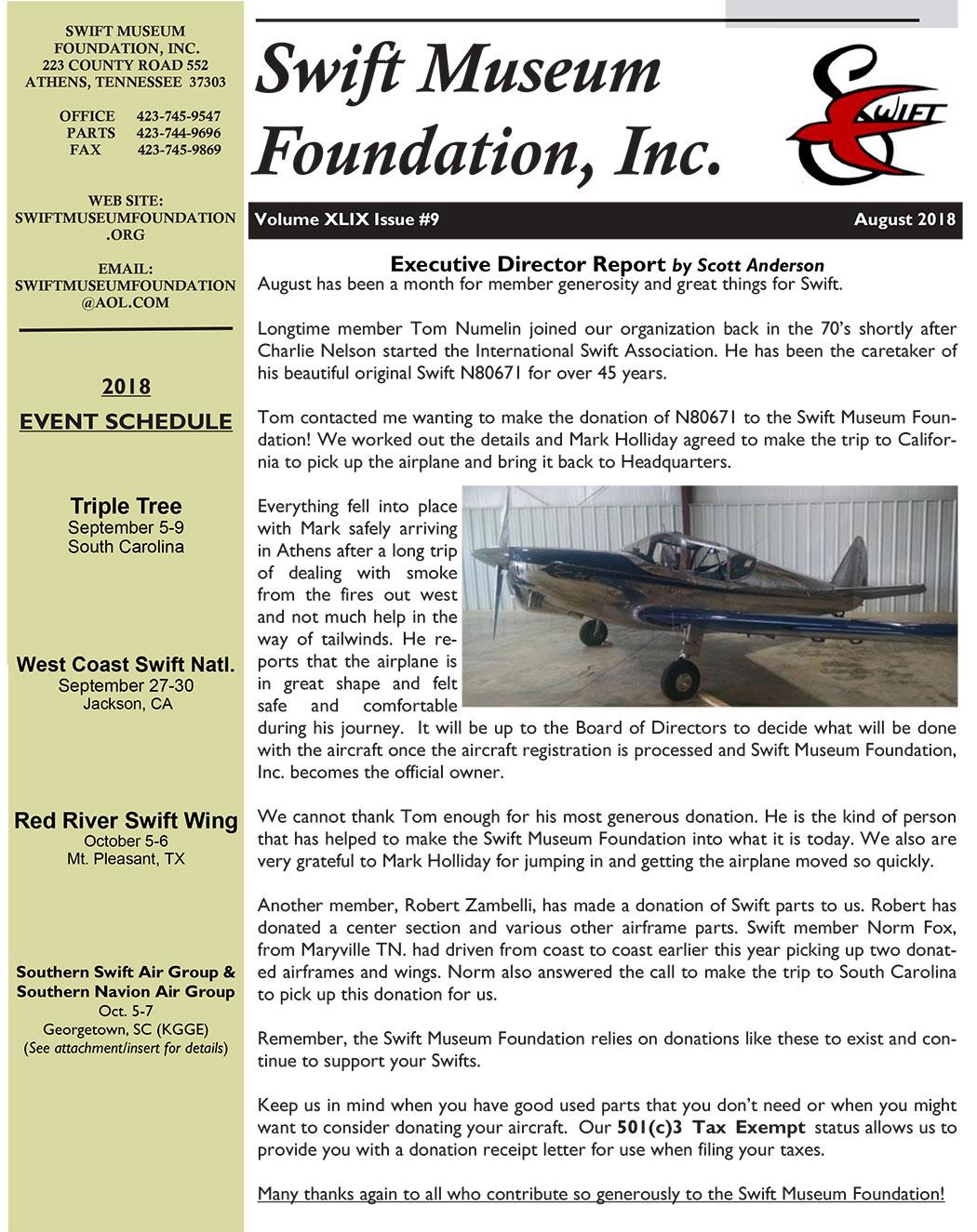 August 2018 Swift Museum Foundation Newsletter - Swift Museum