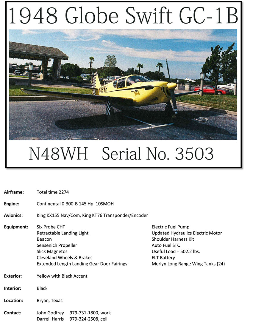For Sale: 1948 Globe Swift GC-1B - N48WH - Swift Museum
