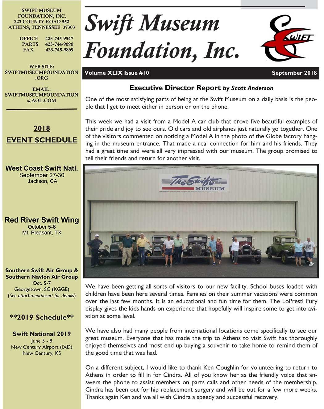 September 2018 Newsletter - Swift Museum Foundation, Inc