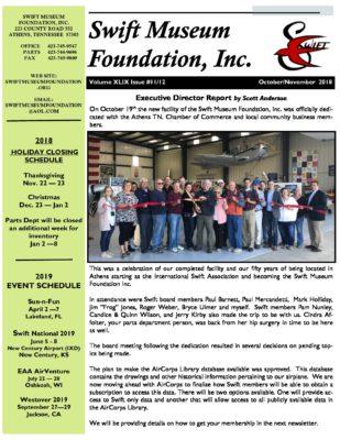 2018 Newsletter Oct-Nov - Swift Museum Foundation, Inc
