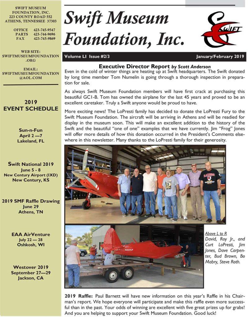 January/February 2019 Swift Museum Foundation Newsletter